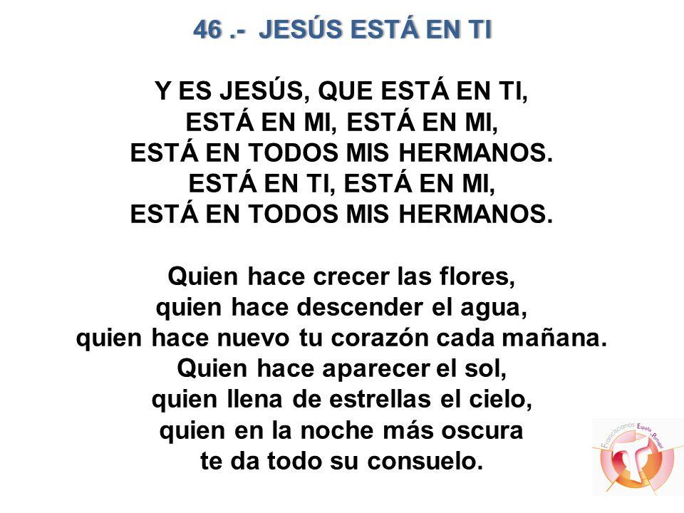 46 .- JESÚS ESTÁ EN TI Y ES JESÚS, QUE ESTÁ EN TI, ESTÁ EN MI, ESTÁ EN MI, ESTÁ EN TODOS MIS HERMANOS.