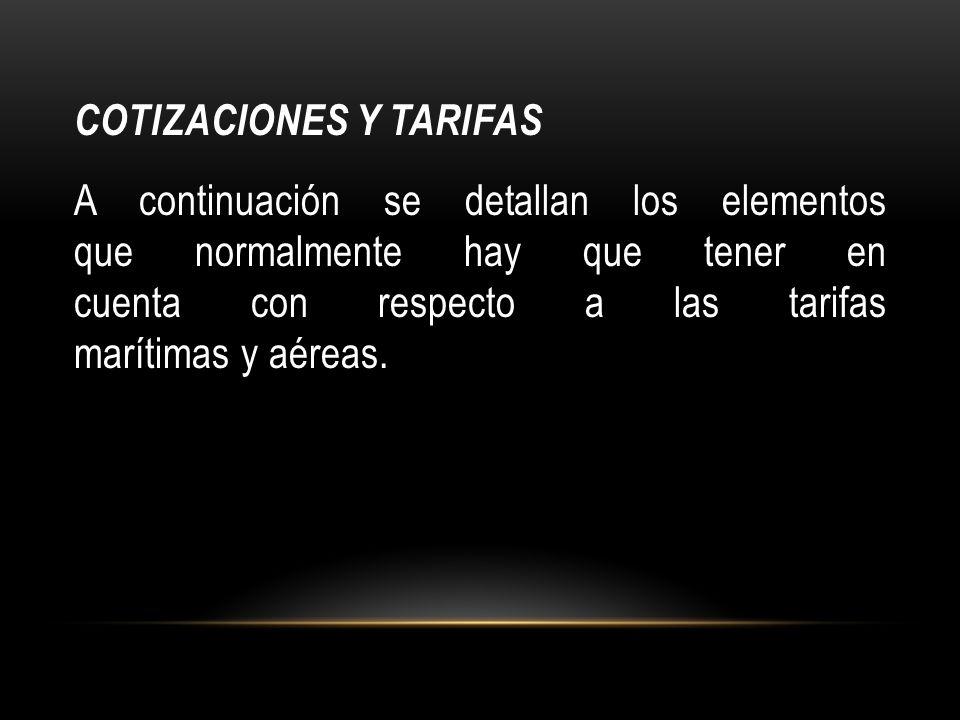 COTIZACIONES Y TARIFAS
