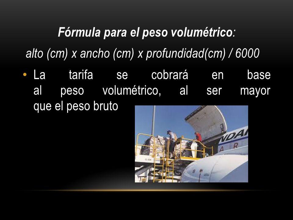 Fórmula para el peso volumétrico: