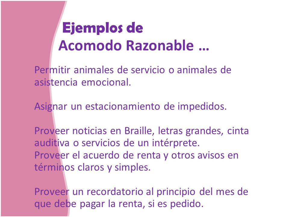 Acomodo Razonable … Ejemplos de
