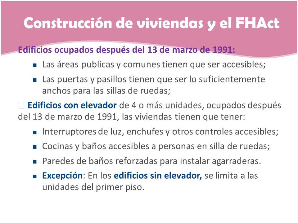 Construcción de viviendas y el FHAct