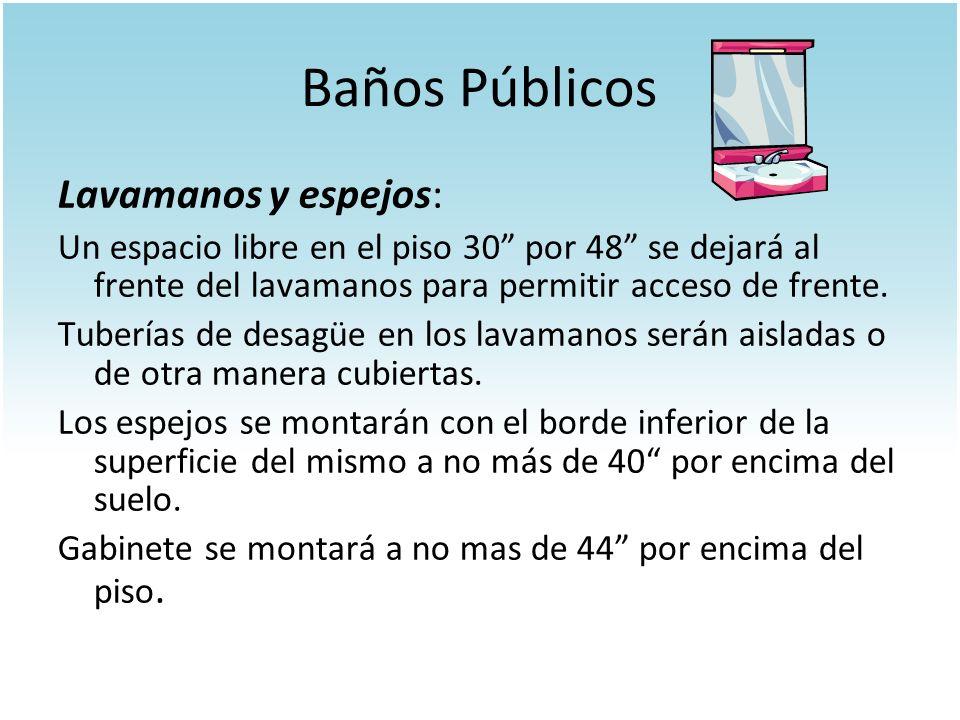 Baños Públicos Lavamanos y espejos: