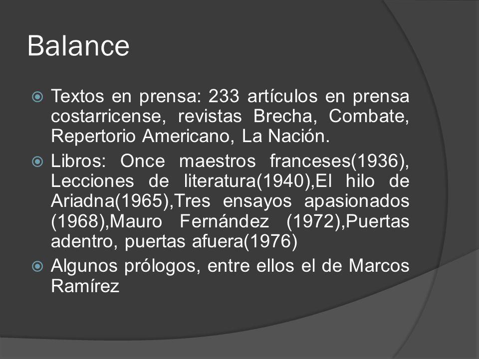 Balance Textos en prensa: 233 artículos en prensa costarricense, revistas Brecha, Combate, Repertorio Americano, La Nación.