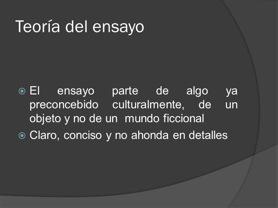 Teoría del ensayo El ensayo parte de algo ya preconcebido culturalmente, de un objeto y no de un mundo ficcional.