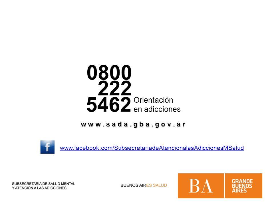 0800 222 5462 Orientación en adicciones