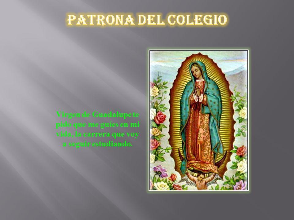 Patrona del Colegio Virgen de Guadalupe te pido que me guíes en mi vida, la carrera que voy a seguir estudiando.