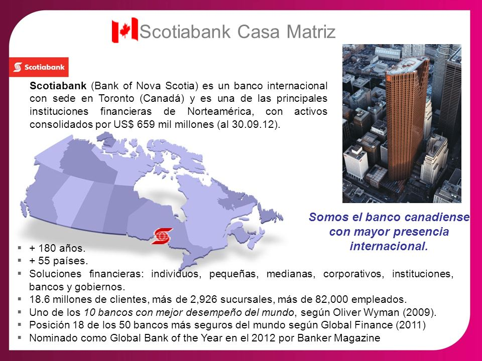 Somos el banco canadiense con mayor presencia internacional.