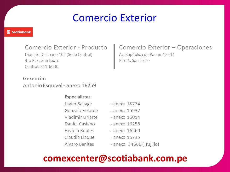 Comercio Exterior comexcenter@scotiabank.com.pe