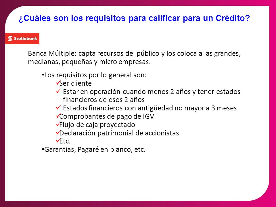 ¿Cuáles son los requisitos para calificar para un Crédito