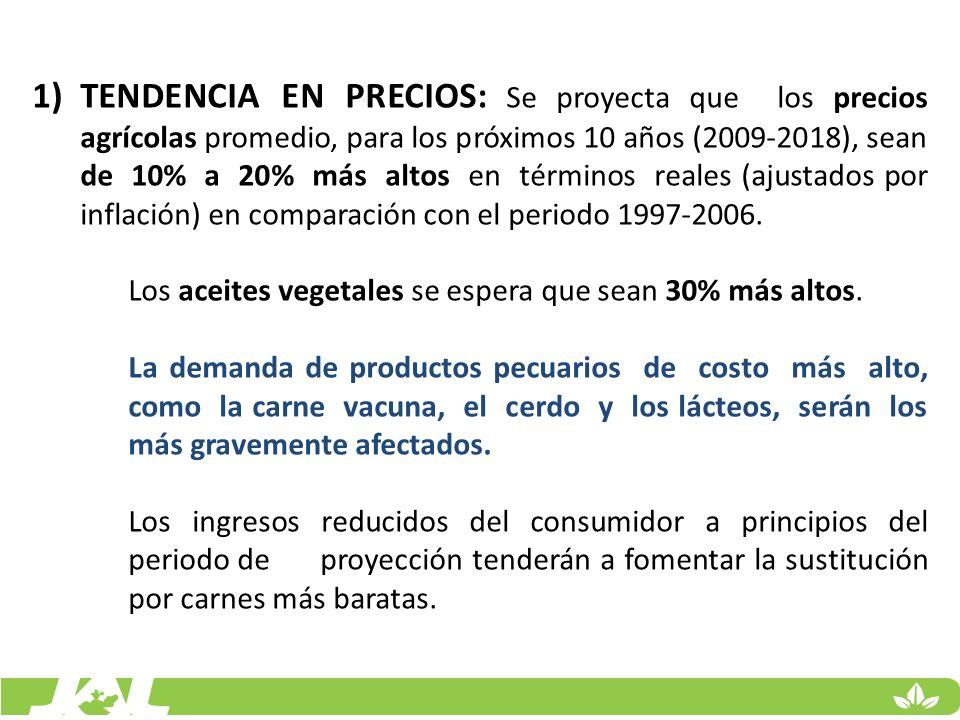 TENDENCIA EN PRECIOS: Se proyecta que los precios agrícolas promedio, para los próximos 10 años (2009-2018), sean de 10% a 20% más altos en términos reales (ajustados por inflación) en comparación con el periodo 1997-2006.
