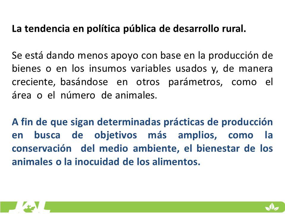 La tendencia en política pública de desarrollo rural.