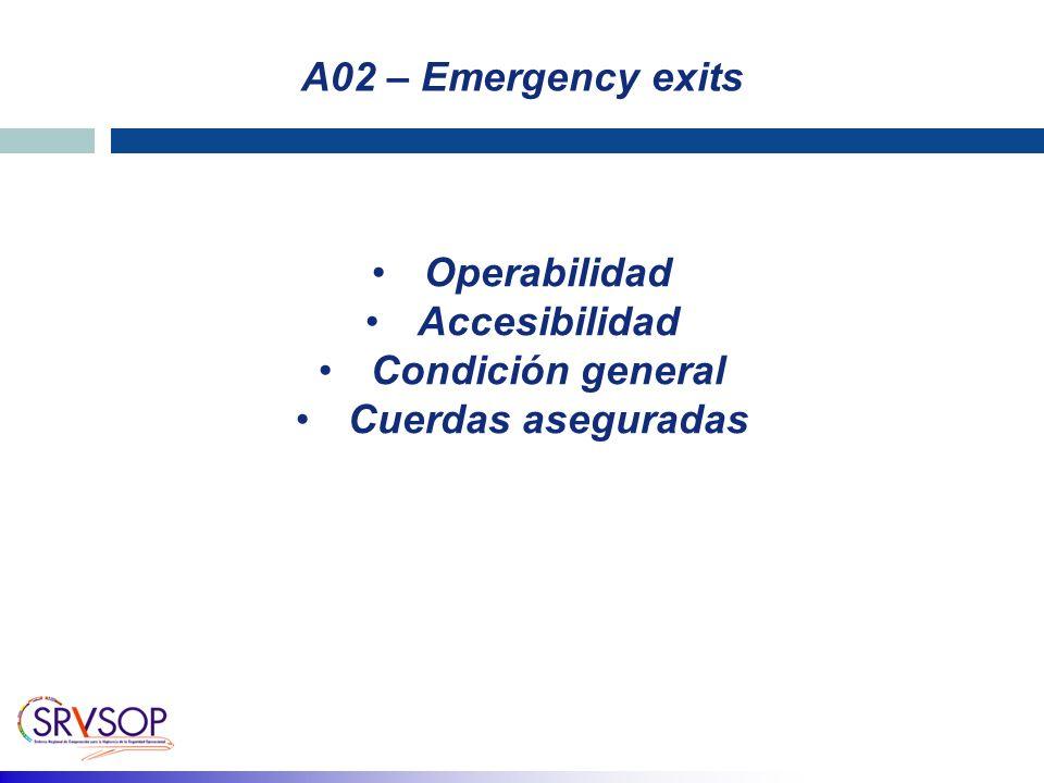 A02 – Emergency exits Operabilidad Accesibilidad Condición general Cuerdas aseguradas