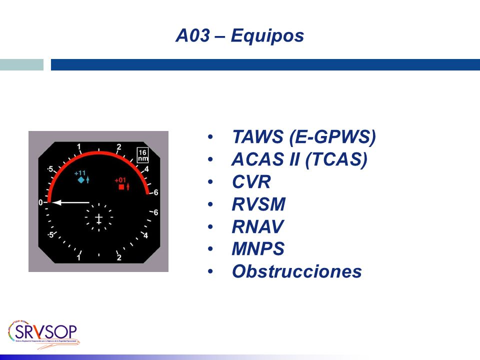 A03 – Equipos TAWS (E-GPWS) ACAS II (TCAS) CVR RVSM RNAV MNPS Obstrucciones