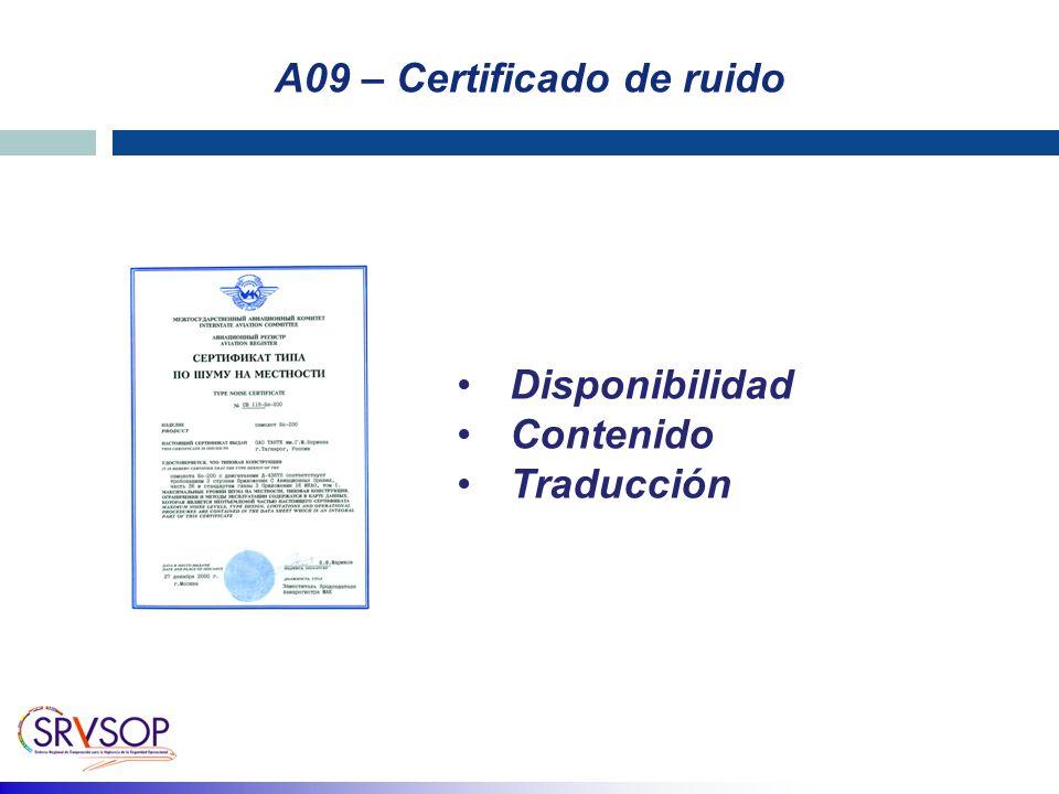 A09 – Certificado de ruido