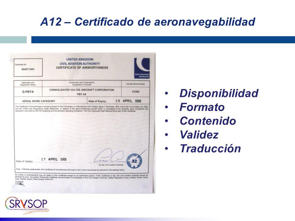A12 – Certificado de aeronavegabilidad