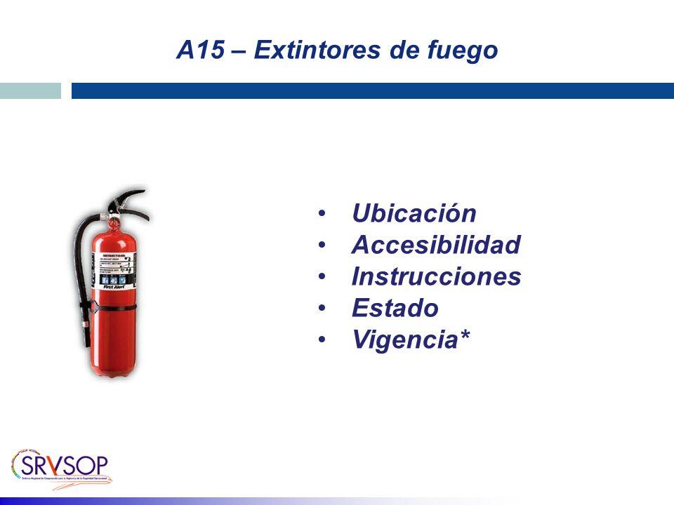 A15 – Extintores de fuego Ubicación Accesibilidad Instrucciones Estado Vigencia*