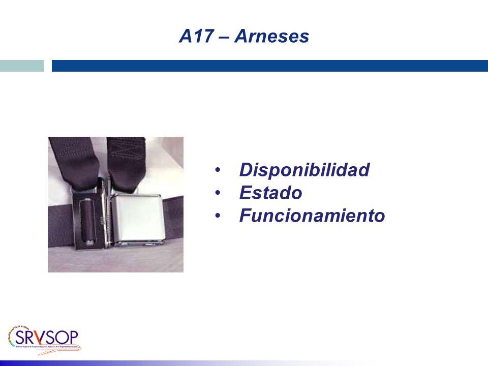 A17 – Arneses Disponibilidad Estado Funcionamiento