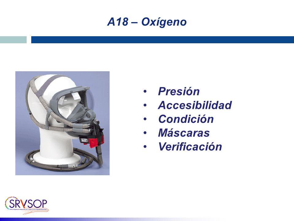 A18 – Oxígeno Presión Accesibilidad Condición Máscaras Verificación