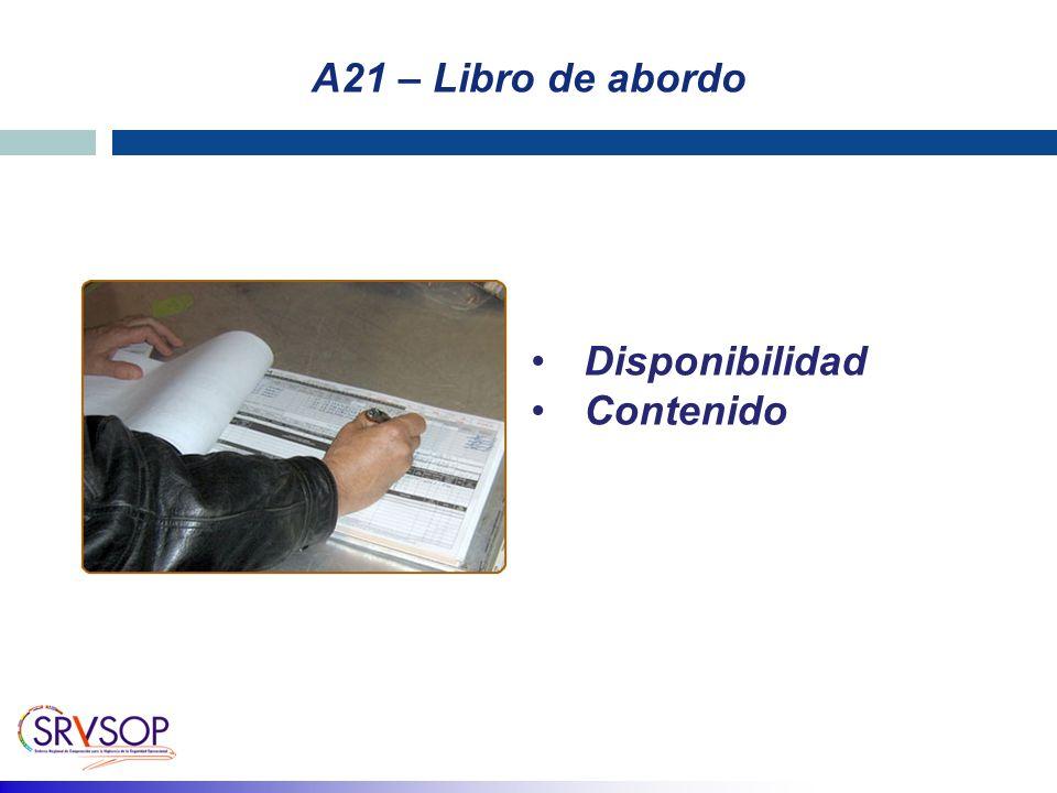 A21 – Libro de abordo Disponibilidad Contenido