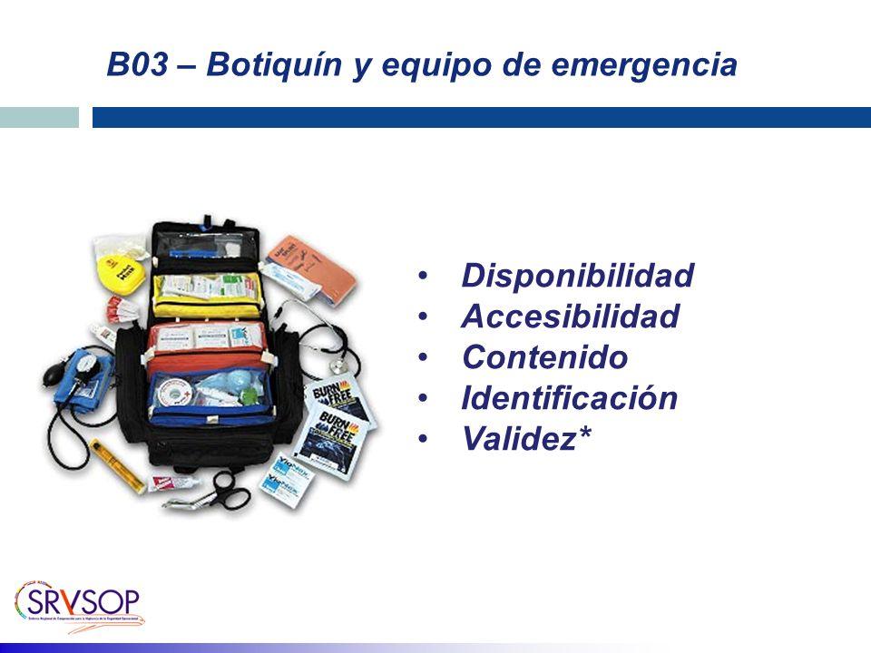 B03 – Botiquín y equipo de emergencia