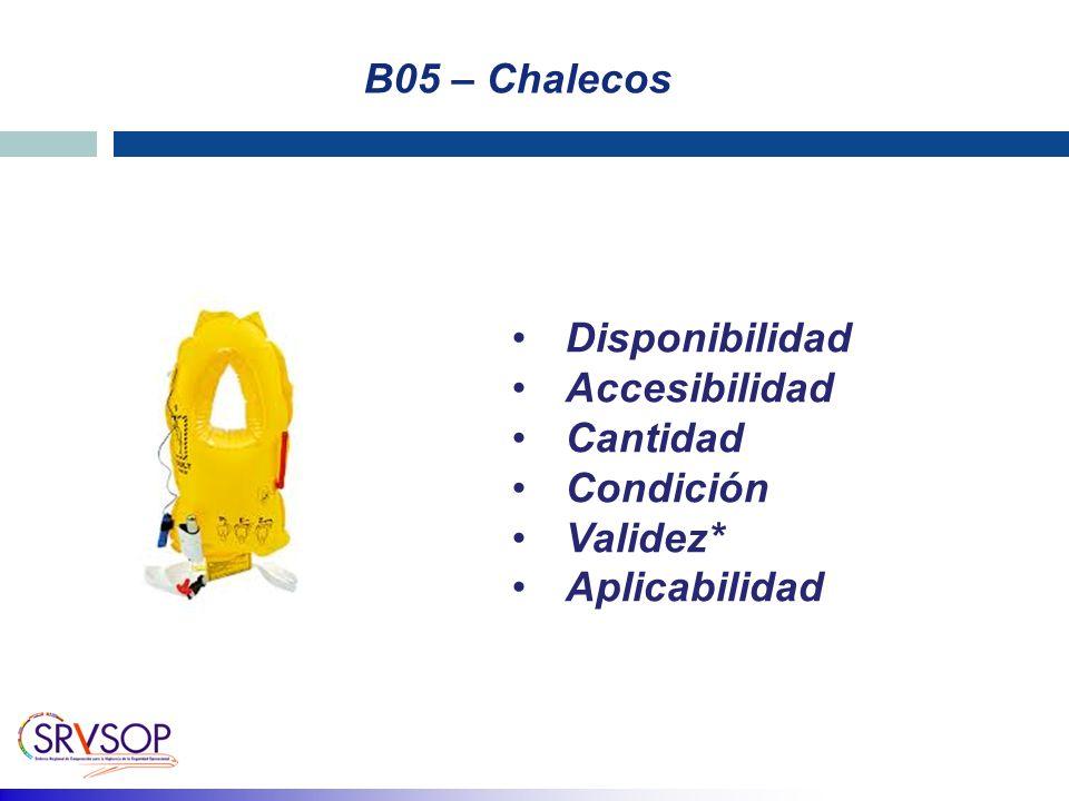 B05 – Chalecos Disponibilidad Accesibilidad Cantidad Condición Validez* Aplicabilidad
