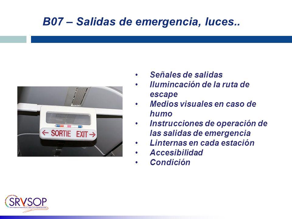 B07 – Salidas de emergencia, luces..