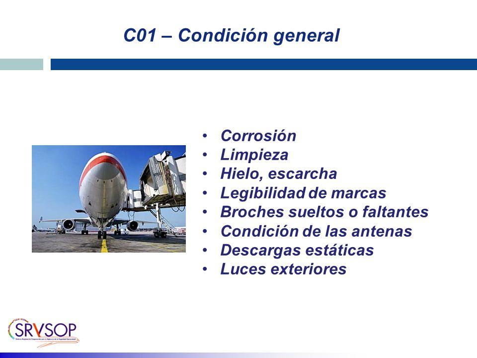 C01 – Condición general Corrosión Limpieza Hielo, escarcha
