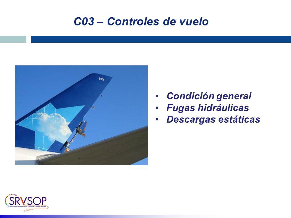 C03 – Controles de vuelo Condición general Fugas hidráulicas