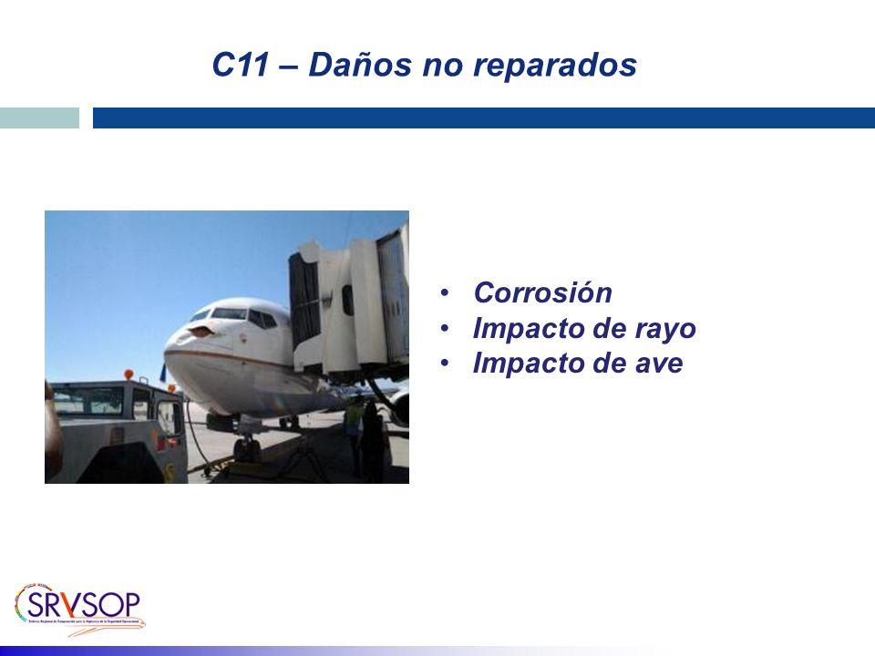 C11 – Daños no reparados Corrosión Impacto de rayo Impacto de ave