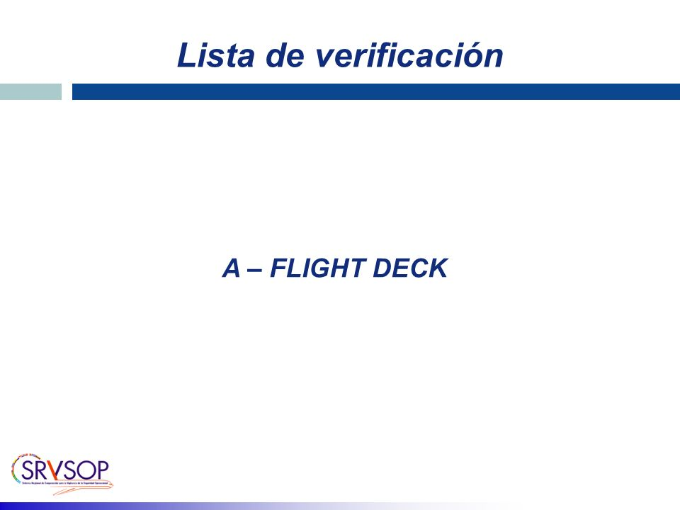 Lista de verificación A – FLIGHT DECK
