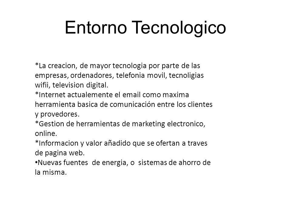 Entorno Tecnologico *La creacion, de mayor tecnologia por parte de las empresas, ordenadores, telefonia movil, tecnoligias wifii, television digital.