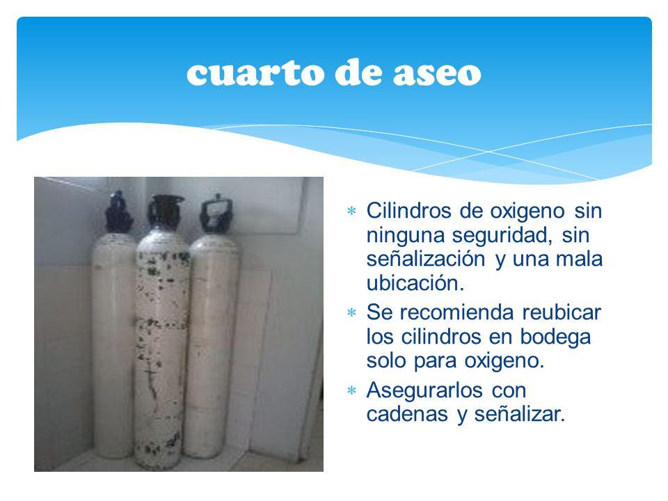 cuarto de aseo Cilindros de oxigeno sin ninguna seguridad, sin señalización y una mala ubicación.