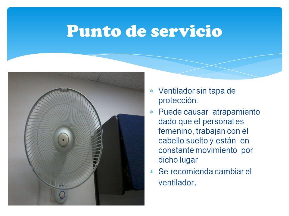Punto de servicio Ventilador sin tapa de protección.
