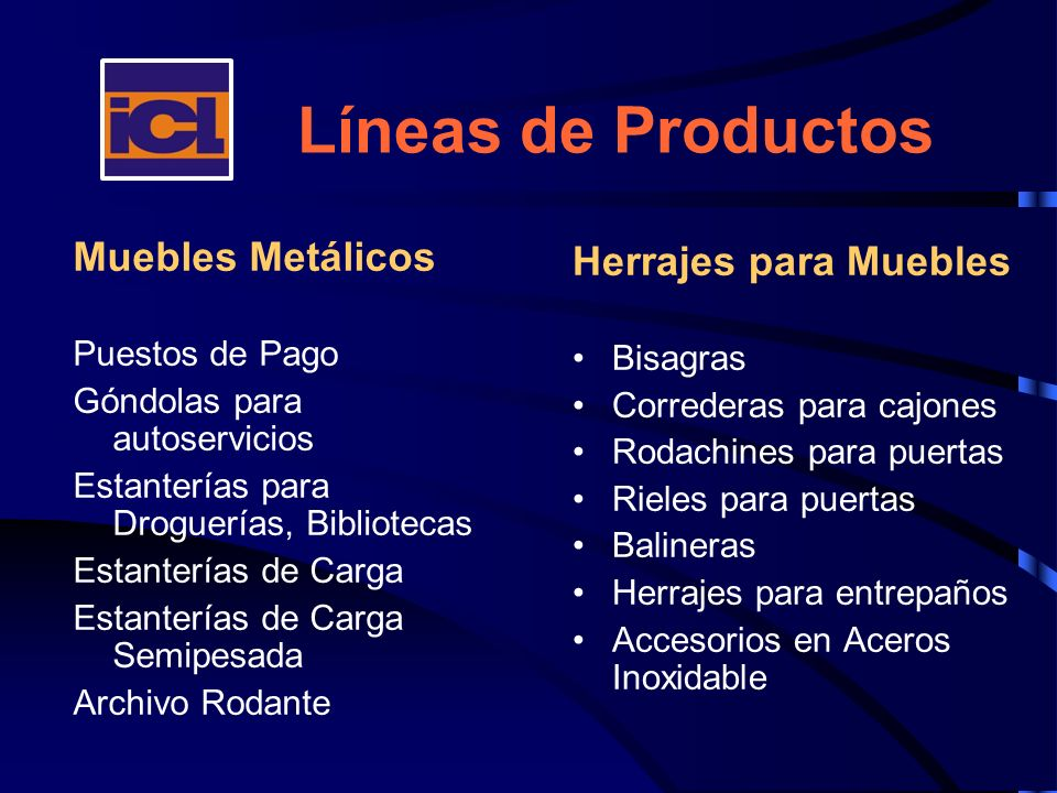 Líneas de Productos Muebles Metálicos Herrajes para Muebles