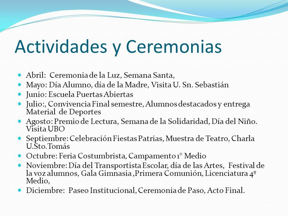 Actividades y Ceremonias