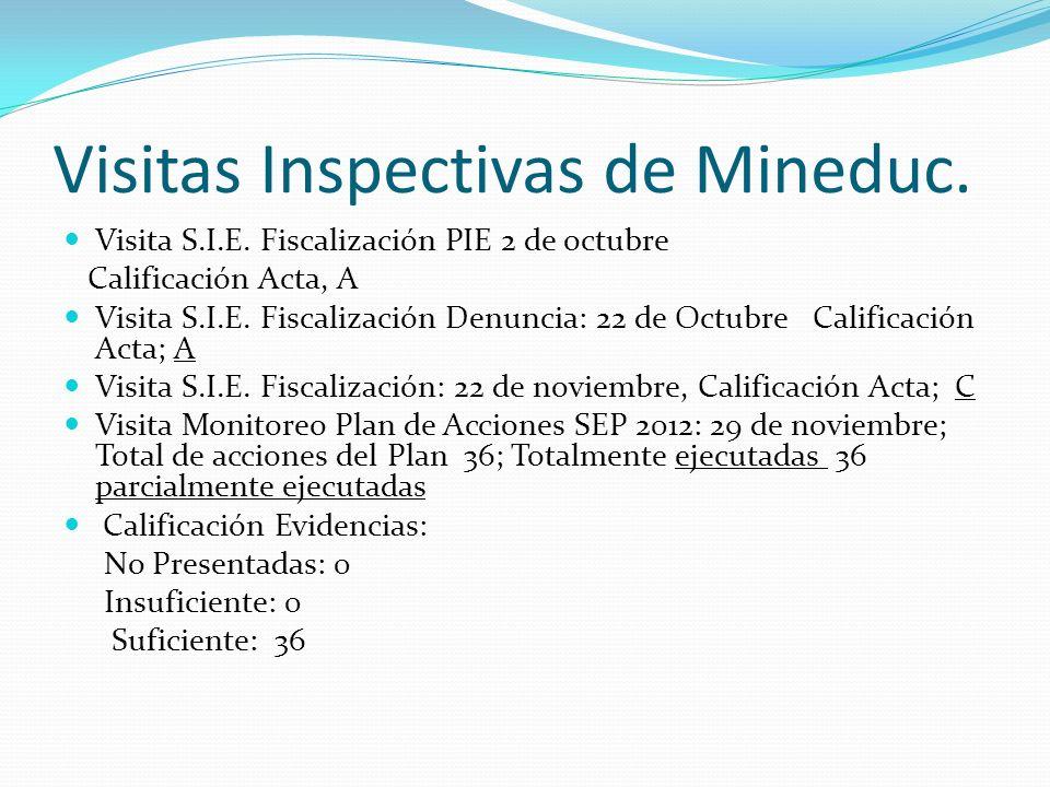 Visitas Inspectivas de Mineduc.