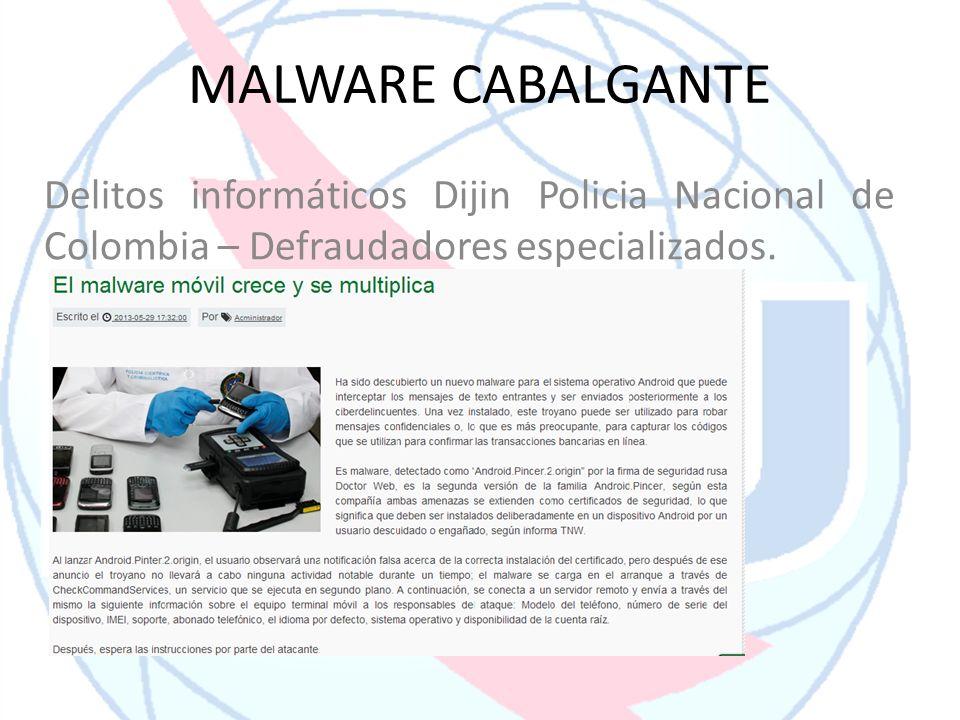 MALWARE CABALGANTE Delitos informáticos Dijin Policia Nacional de Colombia – Defraudadores especializados.