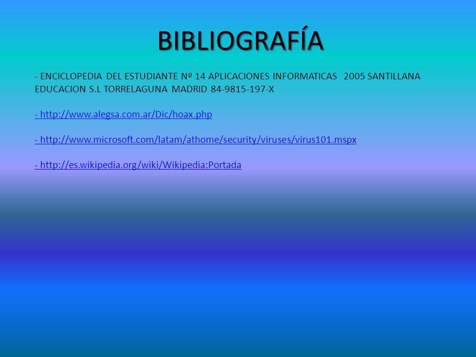 BIBLIOGRAFÍA - ENCICLOPEDIA DEL ESTUDIANTE Nº 14 APLICACIONES INFORMATICAS 2005 SANTILLANA EDUCACION S.L TORRELAGUNA MADRID 84-9815-197-X.