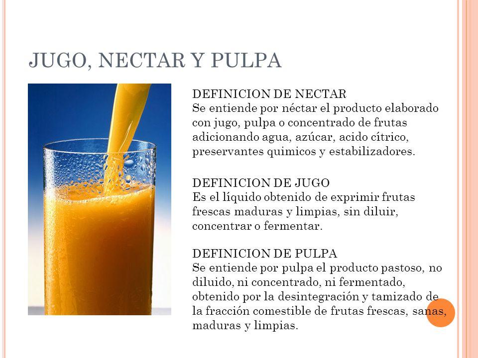 JUGO, NECTAR Y PULPA DEFINICION DE NECTAR