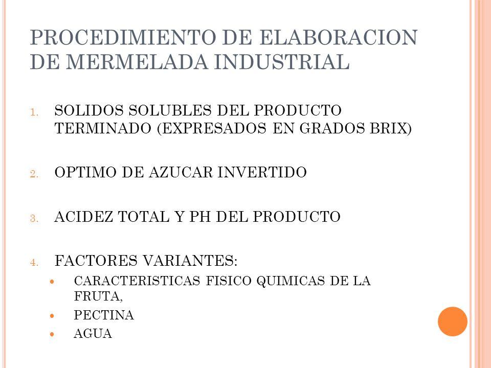PROCEDIMIENTO DE ELABORACION DE MERMELADA INDUSTRIAL
