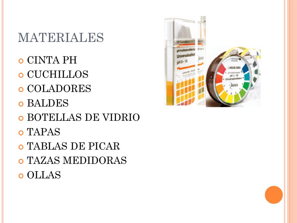 MATERIALES CINTA PH CUCHILLOS COLADORES BALDES BOTELLAS DE VIDRIO