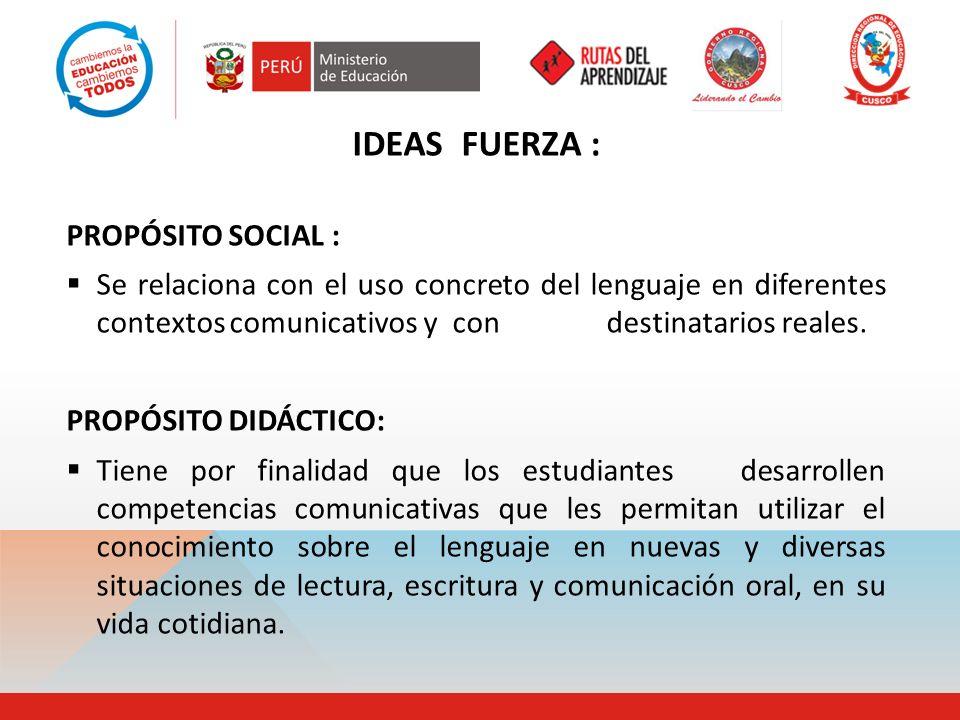 IDEAS FUERZA : PROPÓSITO SOCIAL :
