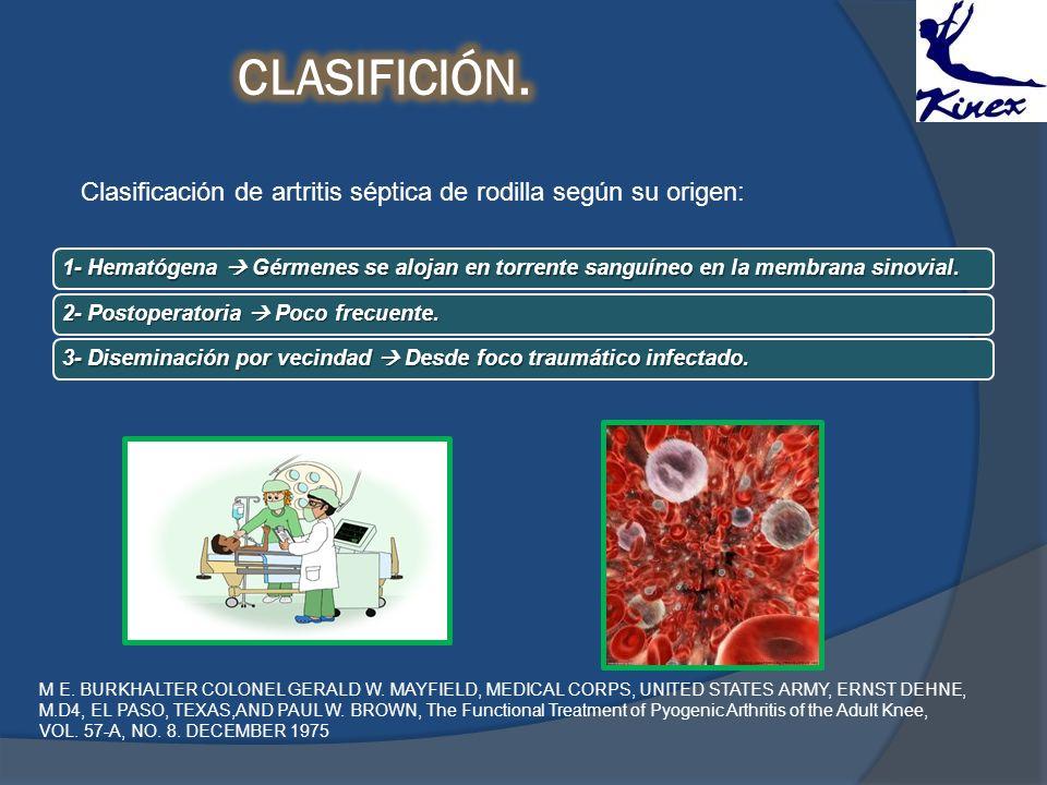 CLASIFICIÓN. Clasificación de artritis séptica de rodilla según su origen:
