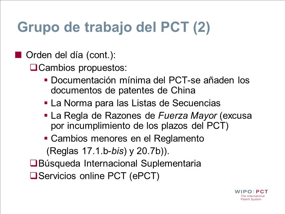 Grupo de trabajo del PCT (2)