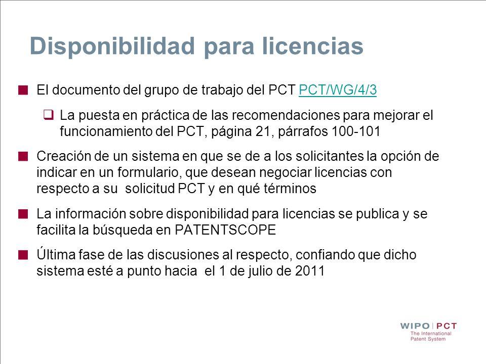 Disponibilidad para licencias