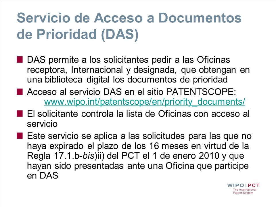 Servicio de Acceso a Documentos de Prioridad (DAS)