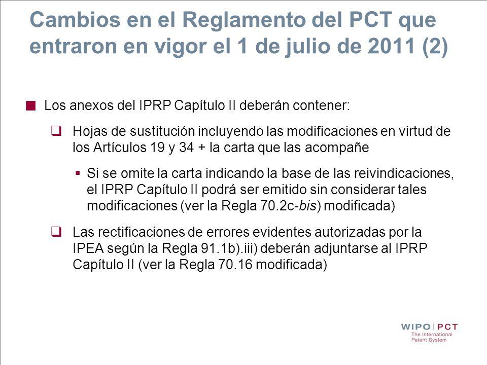 Cambios en el Reglamento del PCT que entraron en vigor el 1 de julio de 2011 (2)