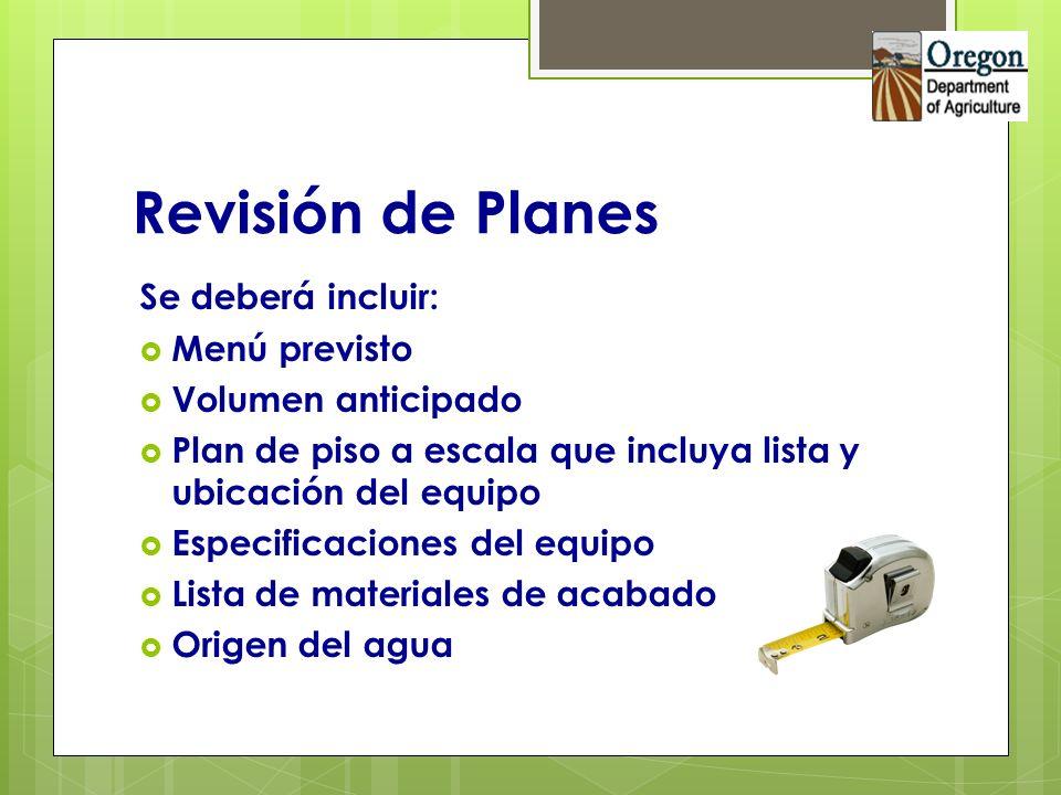 Revisión de Planes Se deberá incluir: Menú previsto Volumen anticipado