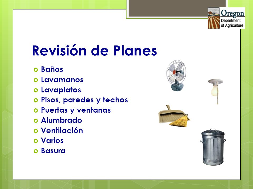 Revisión de Planes Baños Lavamanos Lavaplatos Pisos, paredes y techos