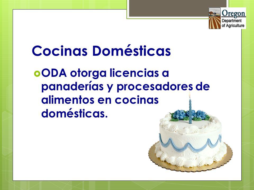 Cocinas DomésticasODA otorga licencias a panaderías y procesadores de alimentos en cocinas domésticas.
